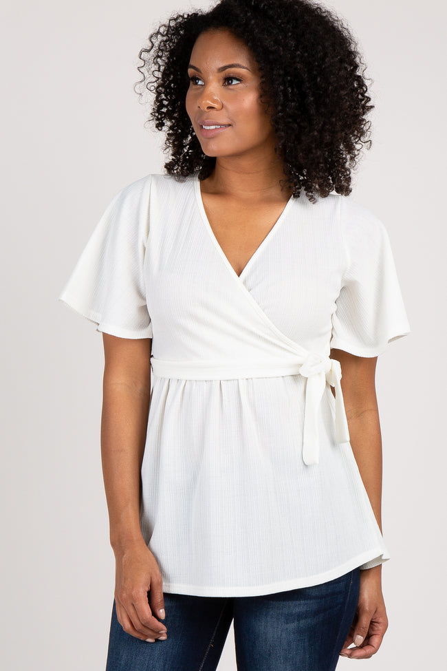 Ivory Short Sleeve Wrap Top