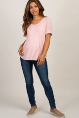 Light Pink Ribbed Short Sleeve Maternity Top
