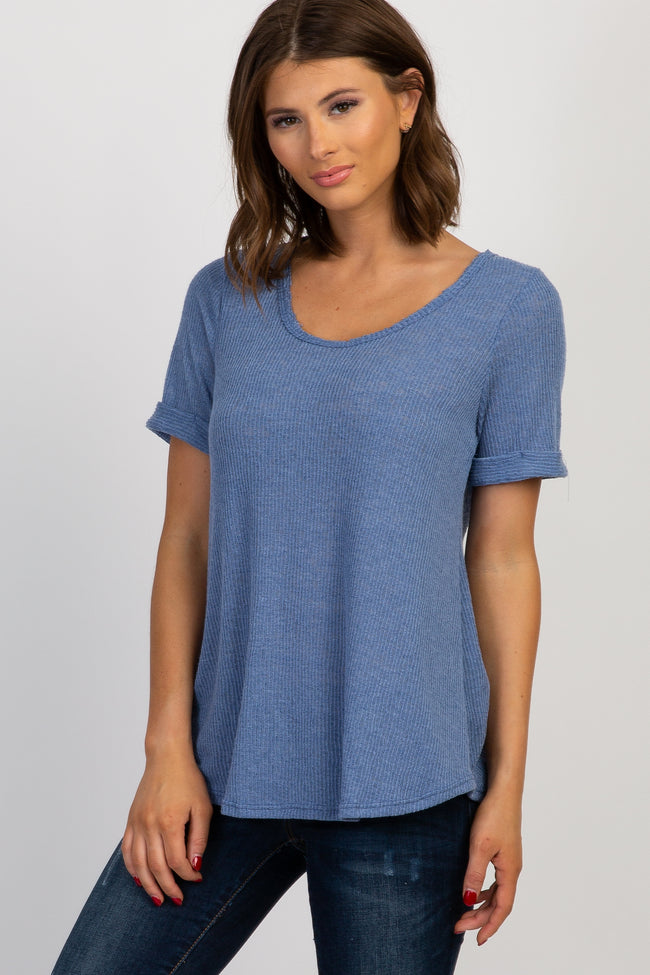 Blue Ribbed Short Sleeve Maternity Top
