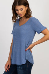Blue Ribbed Short Sleeve Top