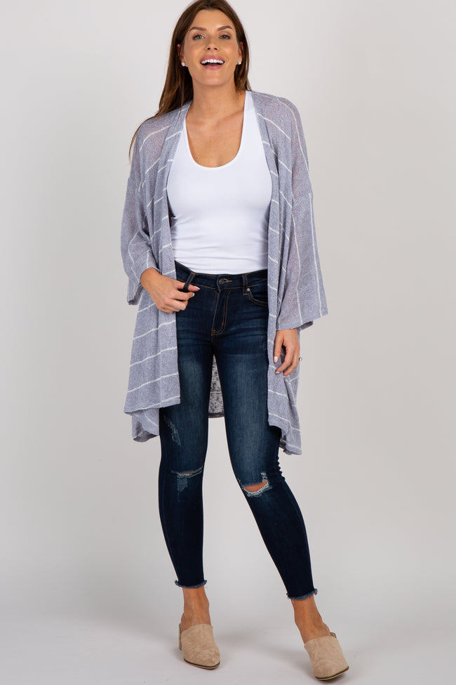 Grey Striped Maternity Cardigan