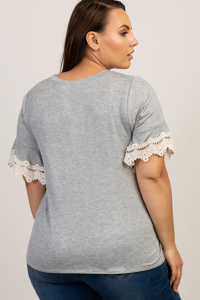 Heather Grey Crochet Sleeve Plus Top