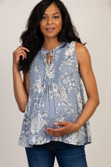 Blue Floral Crochet Trim Front Neck Tie Maternity Top