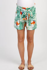 White Tropical Print Tie Front Maternity Shorts