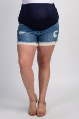 Blue Crochet Hem Maternity Plus Jean Shorts