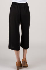 Black Waist Tie Front Slit Maternity Pants
