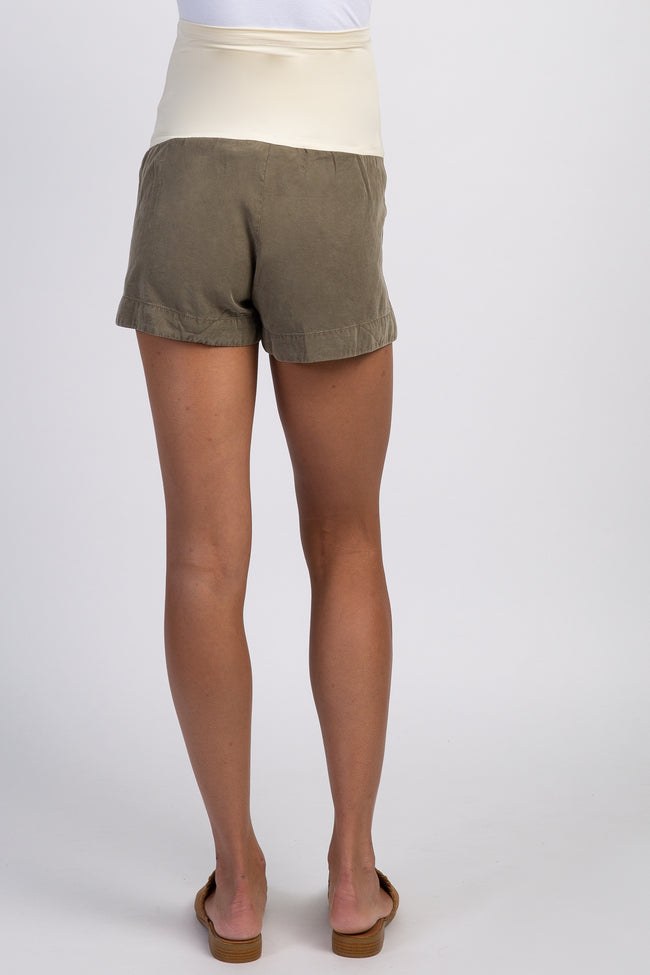 Olive Side Cutout Maternity Shorts