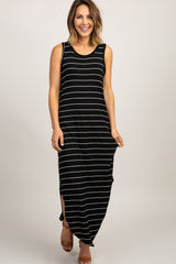 Black Striped Sleeveless Side Slit Maternity Maxi Dress
