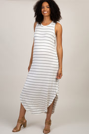 White Striped Sleeveless Side Slit Maternity Maxi Dress