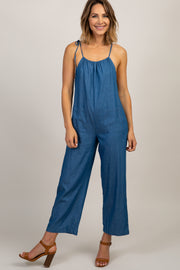 Blue Chambray Shoulder Tie Jumpsuit