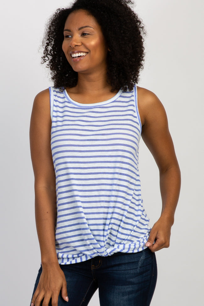Blue Striped Sleeveless Knotted Hem Top