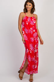 Red Palm Floral Side Slit Maxi Dress