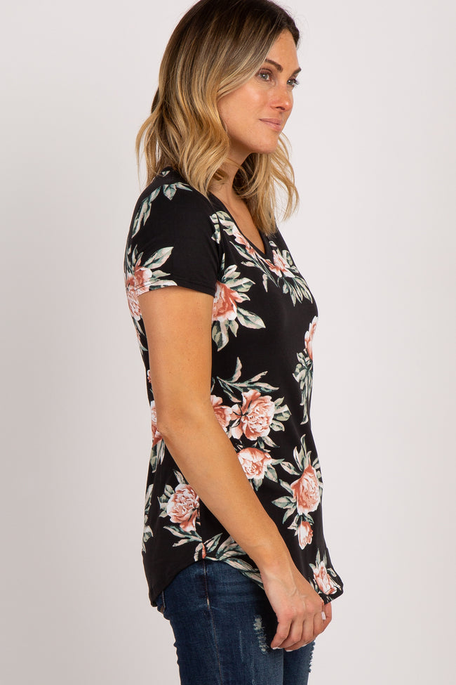 Black Floral Short Sleeve V-Neck Top