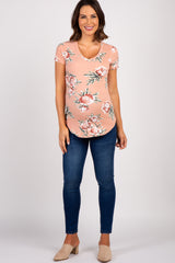 Pink Floral Short Sleeve V-Neck Maternity Top
