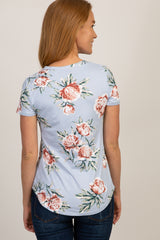 Light Blue Floral Short Sleeve V-Neck Top