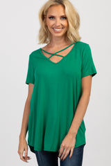 Green Cross Front Short Sleeve Maternity Top