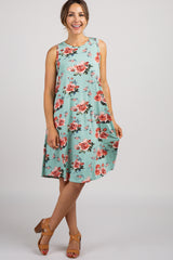 Mint Floral Sleeveless Dres