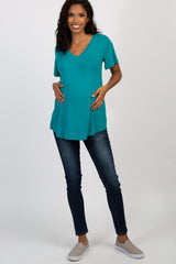 Emerald V-Neck Back Cutout Short Sleeve Maternity Top