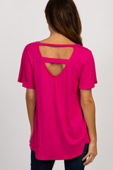 Fuchsia V-Neck Back Cutout Short Sleeve Top