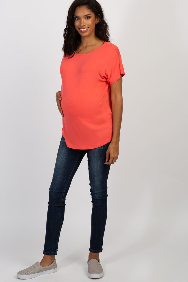 Coral Criss Cross Back Short Sleeve Maternity Top