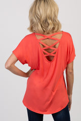 Coral Criss Cross Back Short Sleeve Top