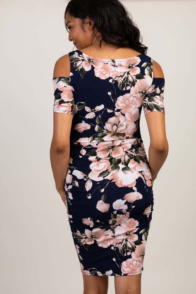 Navy Floral Ruched Cold Shoulder Maternity Dress