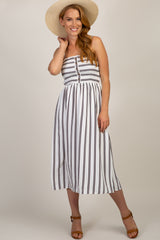 White Striped Smocked Top Maternity Dress