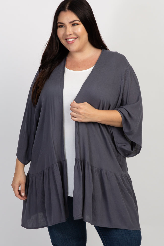 Charcoal Bell Sleeve Ruffle Hem Plus Cover Up