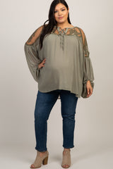 Light Olive Floral Mesh Lace Maternity Plus Peasant Top