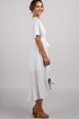Ivory Button Front Hi-Low Midi Dress