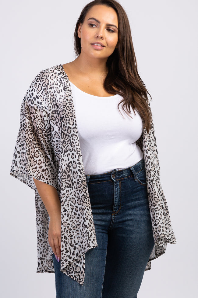 Beige Leopard 3/4 Sleeves Plus Maternity Cover Up