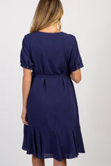 Navy Solid Short Sleeve Tie Maternity Dress