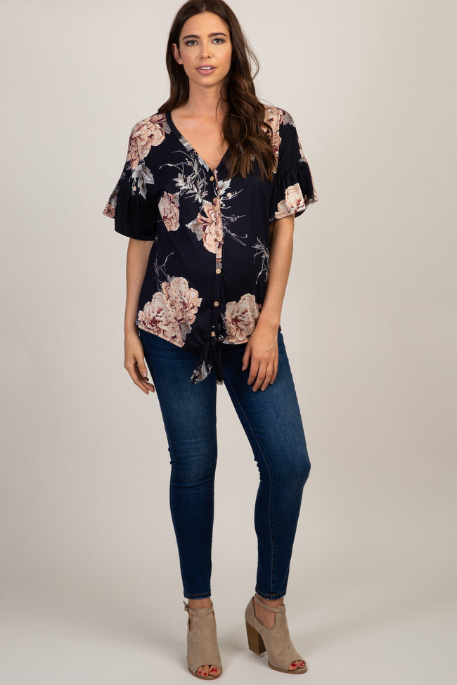 Navy Blue Peony Floral Button Tie Front Maternity Top