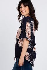Navy Blue Peony Floral Button Tie Front Top