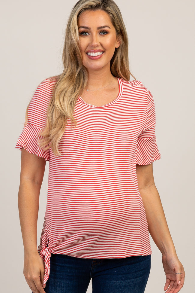 Coral Striped Ruffle Sleeve Front Knot Maternity Top