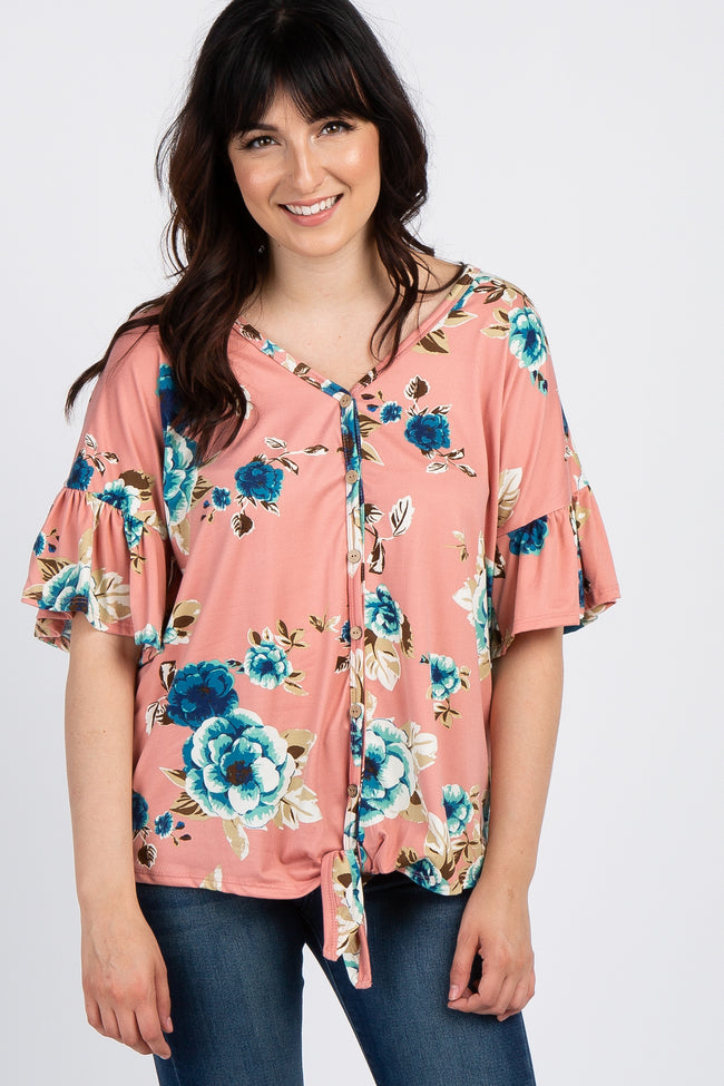 Salmon Floral Button Tie Front Maternity Top