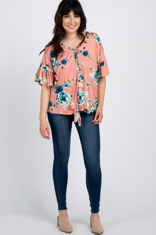 Salmon Floral Button Tie Front Top