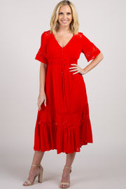 Red Solid Crochet Short Sleeve Midi Dress
