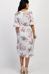 Silver Floral Layered Sleeve Maternity Dress