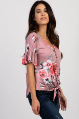 Mauve Floral Button Front Tie Ruffle Sleeve Top