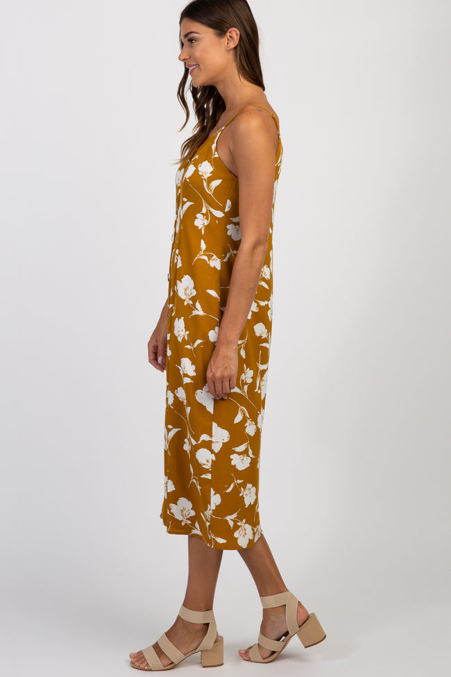 Mustard Floral Sleeveless Button Front Midi Dress