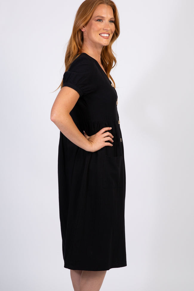 Black Button Front Short Sleeve Midi Dress