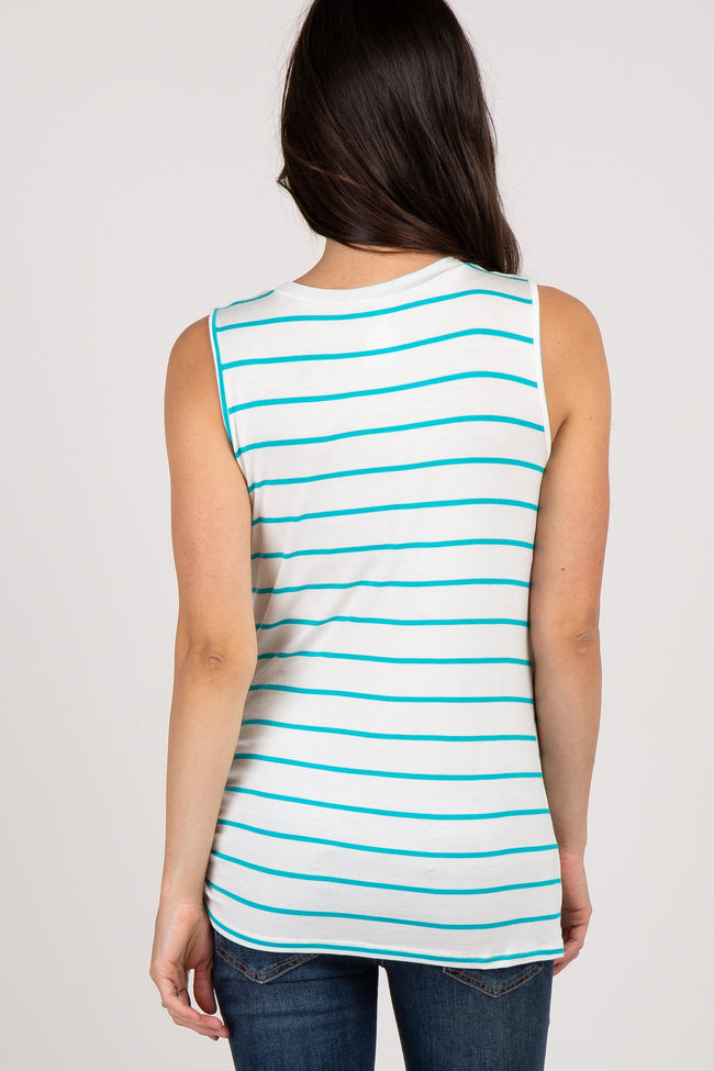 Jade Striped Side Tie Sleeveless Maternity Top