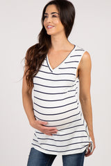 Navy Striped Side Tie Sleeveless Maternity Top