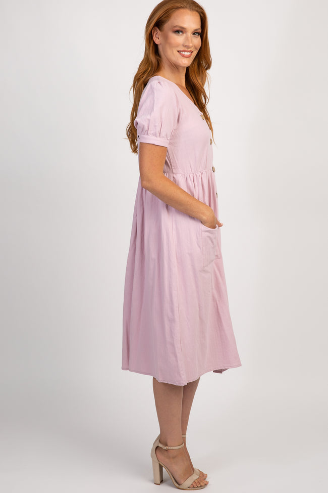 Lavender Button Front Short Sleeve Midi Dress