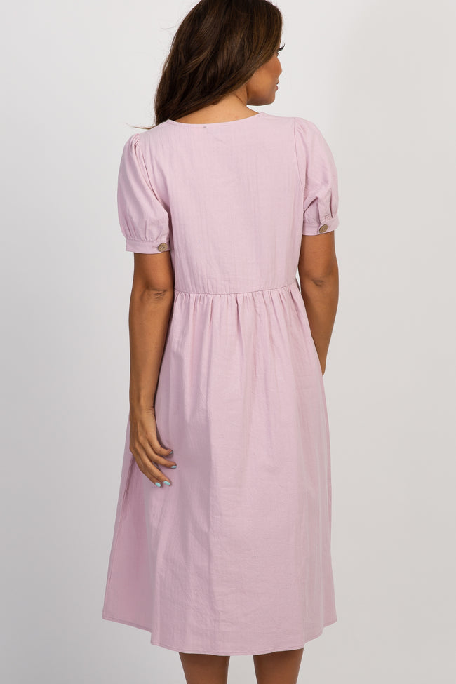 Lavender Button Front Short Sleeve Maternity Midi Dress