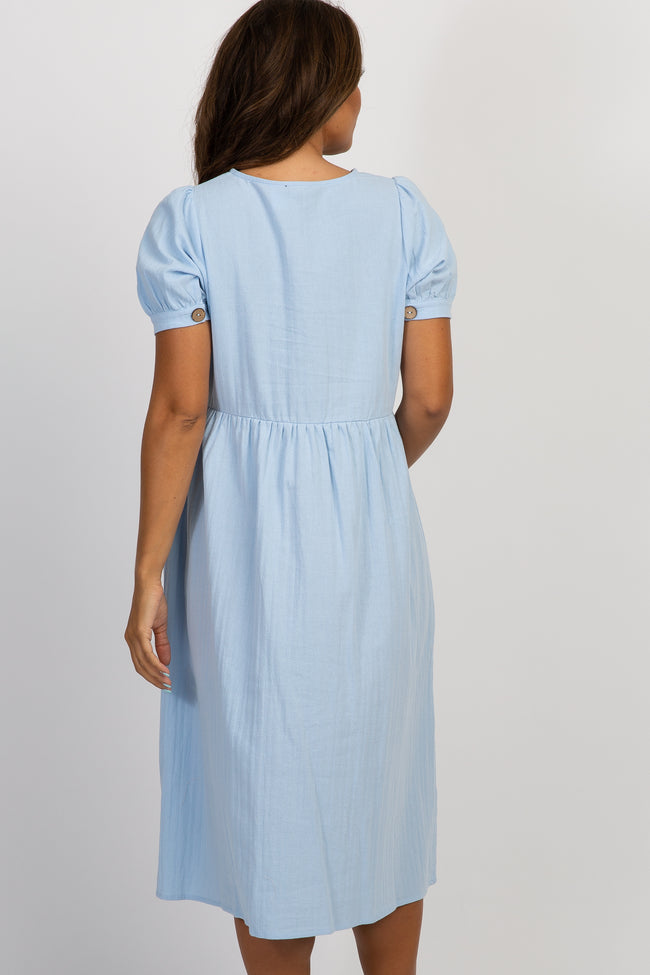 Light Blue Button Front Short Sleeve Maternity Midi Dress