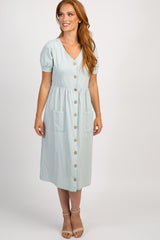 Mint Button Front Short Sleeve Midi Dress