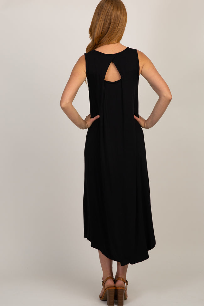 Black Cutout Back Hi-Low Dress