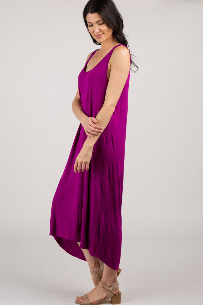 Magenta Cutout Back Hi-Low Dress